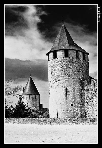 Carcassonne en noir et blanc