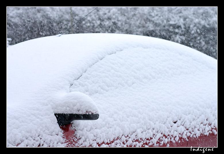La neige recouvre les voitures